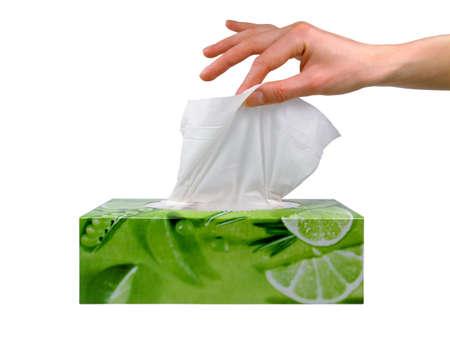 tejido: Delicada mujer de la mano tira de un tejido de un tejido verde caja.  Foto de archivo