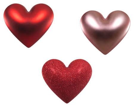 Three Valentine hearts isolated on white background.