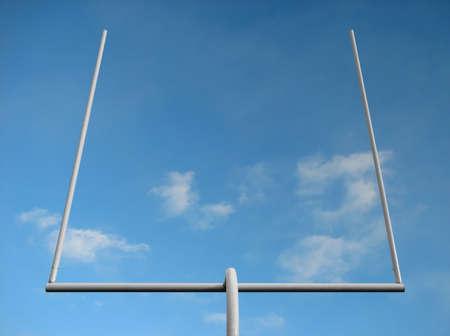 football goal post: American football field goal posts against the blue sky.