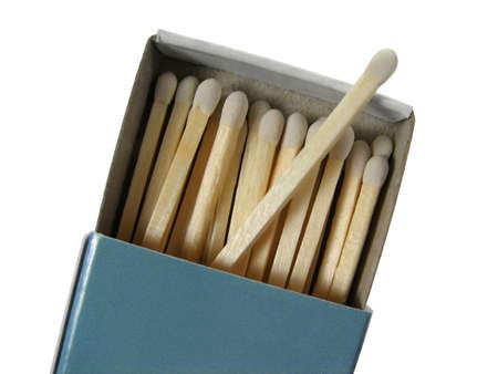 Blue box of matches, isolated on white background. photo