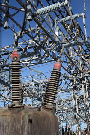 power station: Insulators of a high voltage power station.
