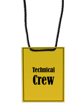 Technical crew backstage pass on white background.
