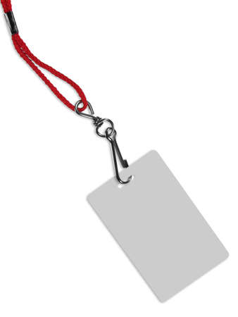 Blank ID card  badge with copy space, isolated on white. Contains clipping path of the card (without neckband) to change the color of the card. photo