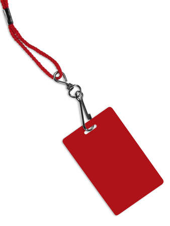 neckband: Blank red ID card  badge with copy space, isolated on white. Contains clipping path of the card (without neckband) to change the color of the card.