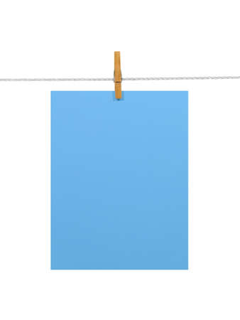 Sky-blue blank paper sheet on a clothes line. Isolated on white background. Contains two clipping paths: 1) paper, clothes line and clothespin; 2) paper only photo