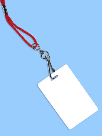 neckband: Blank white ID card  badge with copy space, on blue background. Contains clipping path of the card (without neckband) to change the color of the card. Stock Photo