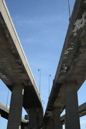 viaducts: Urban trahsport: looking up to highway viaducts. Stock Photo