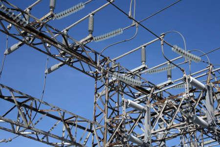 insulators: Metallic construction and insulators of high voltage electricity plant.