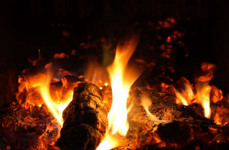 Warmth of the fireplace � flames and ember. Stock Photo - 893982