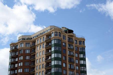built: Urban housing. Newly built modern high-rise condominium.
