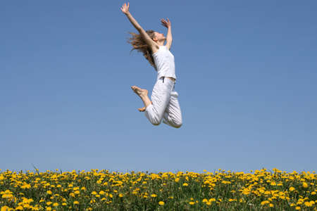 Girl in a happy jump Stock Photo - 968020