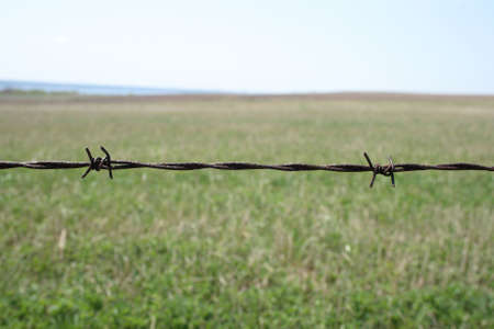Rusty barbed wire fence detail. Shallow depth of field with green blurry field in the background. Stock Photo - 1067344