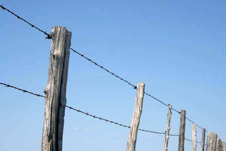 Old wooden posts and barbed wire farm fence against blue sky.