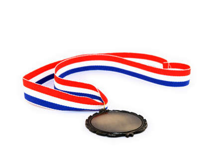 Blank medal with tricolor ribbon, isolated on white background.