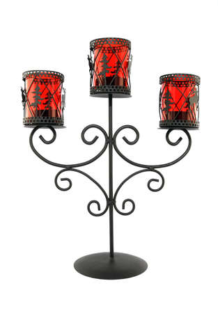 candleholder: Vintage metal and glass candleholder on white background.