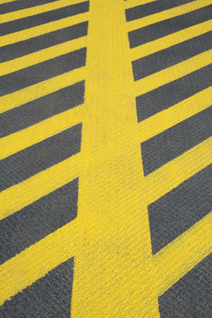 demarcation: No parking yellow road marking  Stock Photo
