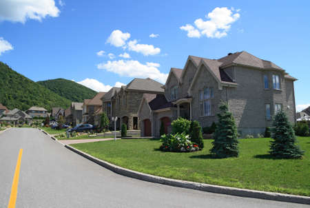 Expensive houses in a prestigious suburban neighborhood near the mountain.