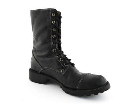 Army style black leather boot on white background. Stock Photo - 1718680