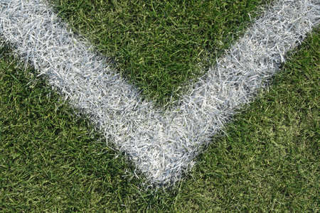 Corner boundary line of a green sports field (football, soccer, baseball, rugby, cricket etc…) photo