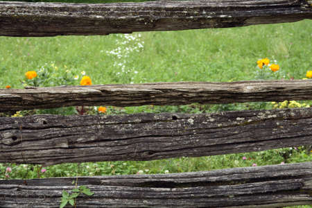 Very old rustic mossy fence in the countryside. Banco de Imagens