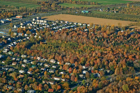View over suburban neighborhood in bright colors of autumn. Stock Photo - 1953962