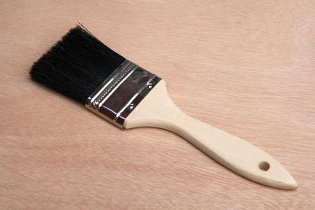 unpainted: New paint brush on unpainted wood background. Stock Photo