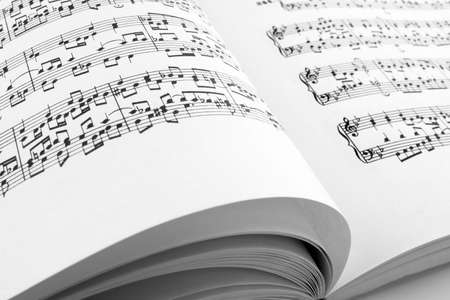 Pages of an open music book.