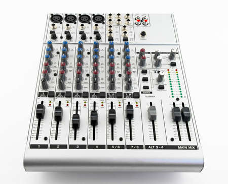Silver sound mixer for audio recording on white background. Stock Photo