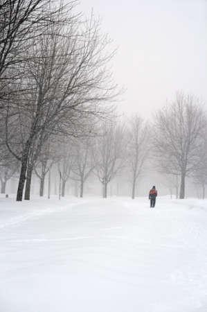 Man walking in a snowy park during a snowfall.