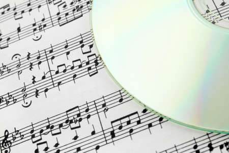 Digital music concept. CD and music notes. Stock Photo