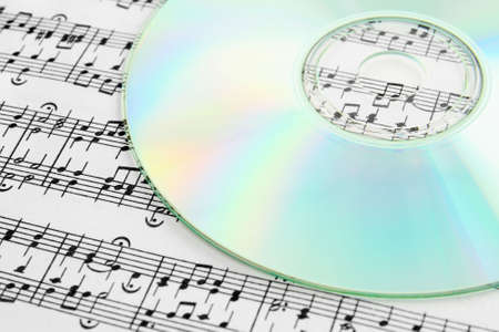 Audio CD and music notes. Digital music concept.