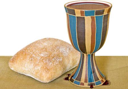 santa cena: Vino y pan para la santa comuni�n.
