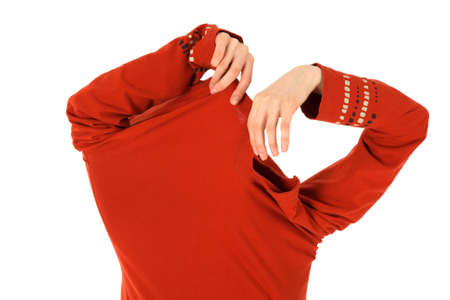 invisible: Funny woman takes off a bright orange shirt.