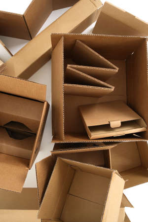 shipped: Closeup of empty cardboard boxes, from above. Stock Photo