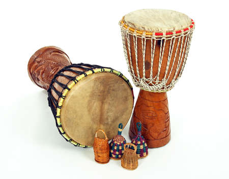 djembe drum: African djembe drums and caxixi shakers. Percussion music instruments.