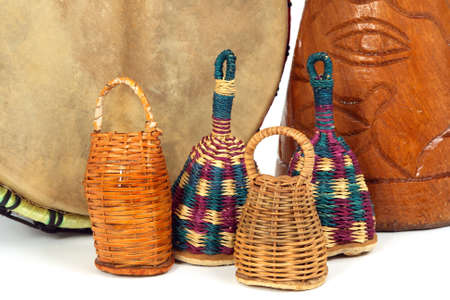 music instruments: Percussion music instruments. Caxixi shakers  and African djembe drums.