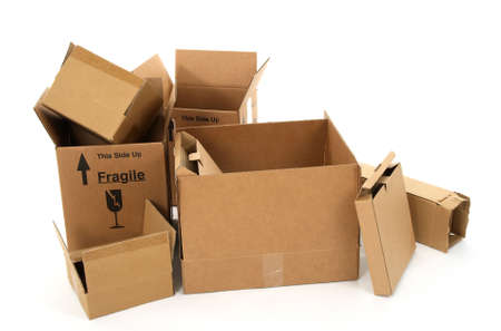 moving crate: Open empty cardboard boxes on white background.