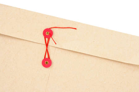 Closeup of interoffice envelope with red string. photo