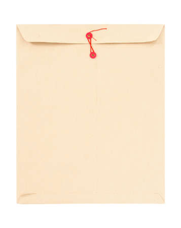 Manila envelope with red string isolated on white. photo