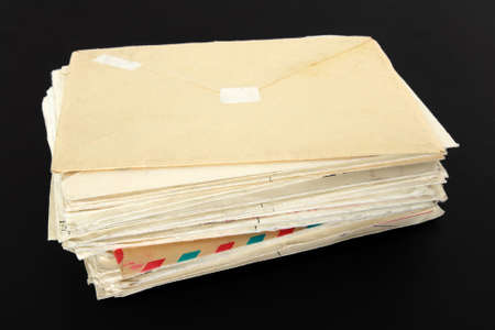 Stack of old letters on black background. Stock Photo - 3086905