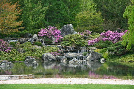 Flowering Japanese garden with pond and water cascades.