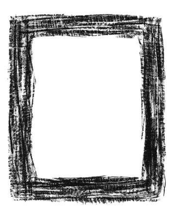 Hand-drawn black grunge textured frame, isolated on white.