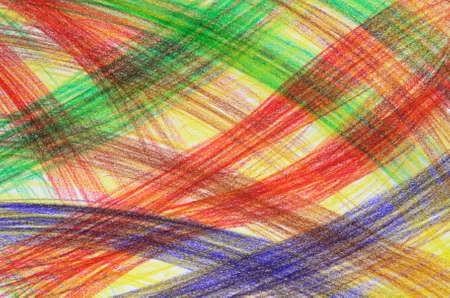 Hand-drawn multicoloured crayon overlapping strokes. Abstract background. Stock Photo - 3526267