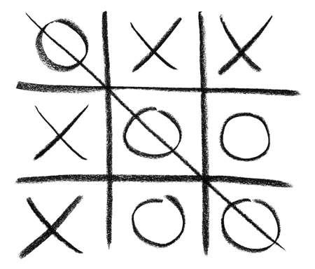 scrawl: Disegnati a mano tic-tac-toe gioco, isolato su bianco.
