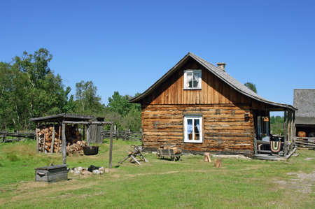 log on: Traditional Canadian rural house from old times. Stock Photo