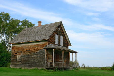 homey: Wooden country house from old times. Stock Photo