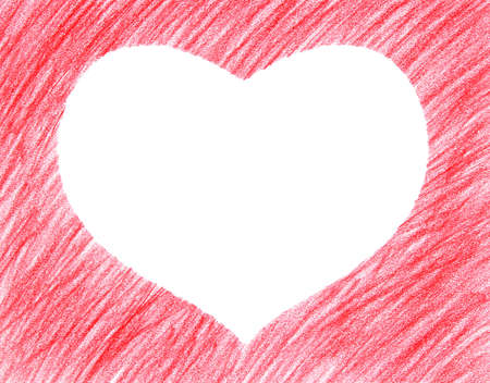 Hand-drawn crayon red heart shape, isolated on white. photo