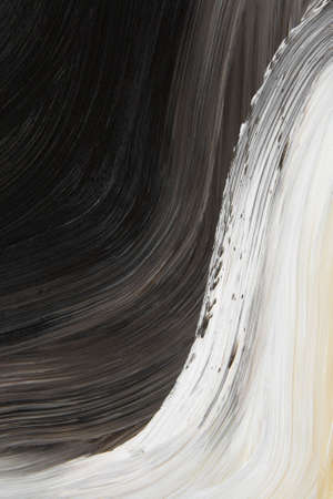 curve: Black and white oil-painted curve. Abstract background. Stock Photo