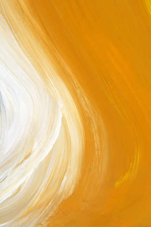 Texture of yellow and white oil-painted brush strokes. photo