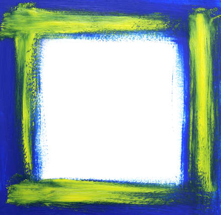 Rough oil-painted frame, blue with yellow brush strokes. photo